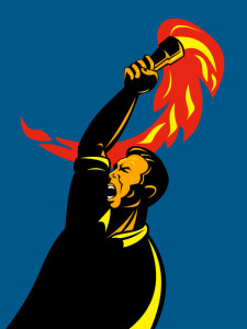worker with flaming torch
