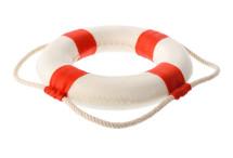 Isolated objects: white-red lifebuoy, isolated on white background